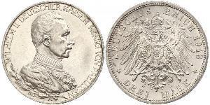 3 Mark Reino de Prusia (1701-1918) Plata Wilhelm II, German Emperor (1859-1941)