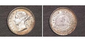 5 Цент Британский Гондурас (1862-1981) Срібло Вікторія (1819 - 1901)