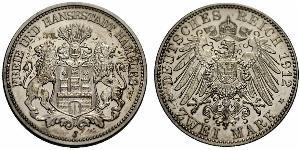 2 Mark Hamburg / Germany Silver