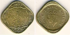 1/2 Anna Britisch-Indien (1858-1947) Messing/Nickel