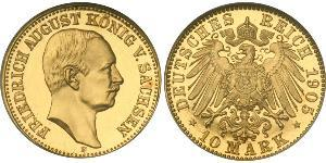 10 Mark Kingdom of Saxony (1806 - 1918) Gold Frederick Augustus III of Saxony (1865-1932)