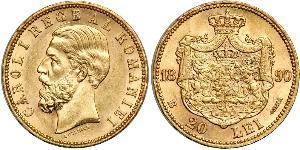 20 Лей Королевство Румыния (1881-1947) Золото Кароль I (1839 - 1914)