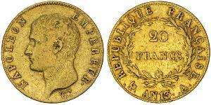 20 Franc First French Empire (1804-1814) Gold Napoleon (1769 - 1821)