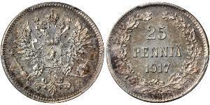 25 Penny Gran Ducado de Finlandia (1809 - 1917) Plata Nicolás II (1868-1918)