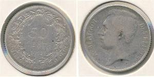 50 Sent Belgien Silber