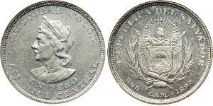 1 Peso El Salvador Argento Cristoforo Colombo (1451 - 1506)