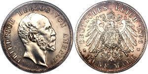 1 Марка Ангальт-Дессау (1603 -1863) Срібло Frederick I, Duke of Anhalt (1831-1904)