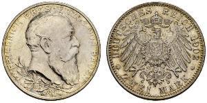 2 Mark Grand Duchy of Baden (1806-1918) Argento Federico I di Baden (1826 - 1907)