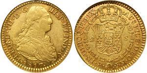 2 Эскудо Новая Гранада (1717 - 1819) Золото Фердинанд VII король Испании (1784-1833)
