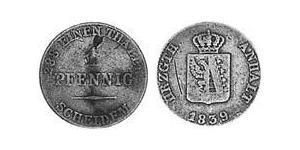 1 Пфенниг Ангальт-Бернбург (1603 - 1863) Медь Александр Карл ,герцог Ангальт-Бернбурга,(1805 – 1863)