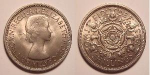 1 Флорин Великобритания (1922-) Никель/Медь Елизавета II (1926-)