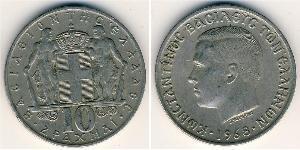 10 Drachma Regno di Grecia (1944-1973) Rame/Nichel Costantino I di Grecia (1868 - 1923)
