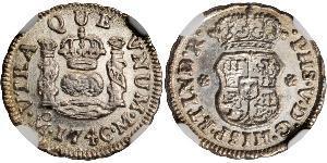 1/2 Real Vizekönigreich Neuspanien (1519 - 1821) Silber Philip V von Spanien (1683-1746)