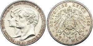 5 Марка Герцогство Саксен-Веймар-Ейзенахське (1809 - 1918) Срібло William Ernest, Grand Duke of Saxe-Weimar-Eisenach