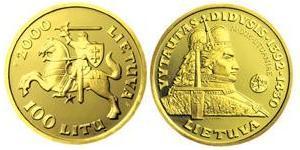 100 Litas Lituanie (1991 - ) Or