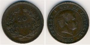 20 Рейс Королевство Португалия (1139-1910) Бронза Карлуш I король Португалии(1863-1908)