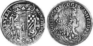 2/3 Thaler Anhalt-Dessau (1603 -1863) / Duchy of Anhalt (1806 - 1918) Silver John George II, Prince of Anhalt-Dessau (1627 – 1693)