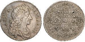 1/2 Крона(англійська) Королівство Англія (927-1649,1660-1707) Срібло Карл II (1630-1685)
