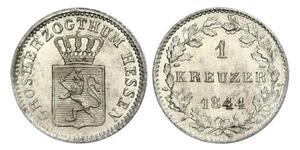 1 Kreuzer 黑森-达姆施塔特 (1806 - 1918) 銀 路德维希二世 (黑森大公)