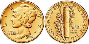 1 Дайм США (1776 - ) Золото