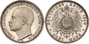 3 Mark Grand Duchy of Hesse (1806 - 1918) Silver Ernest Louis, Grand Duke of Hesse (1868 - 1937)