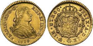 1 Escudo Vicereame della Nuova Spagna (1519 - 1821) Oro Ferdinando VII di Spagna (1784-1833)