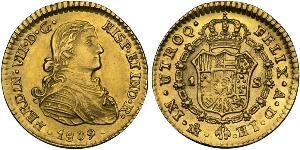 1 Escudo Virreinato de Nueva España (1519 - 1821) Oro Fernando VII de España (1784-1833)