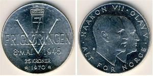 25 Krone 挪威 銀 奥拉夫五世 (1903 - 1991) / 哈康七世  (1872 - 1957)