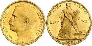 10 Lira Kingdom of Italy (1861-1946) Oro Víctor Manuel III de Italia (1869 - 1947)