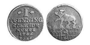 1 Pfennig Anhalt-Bernburg (1603 - 1863) Cobre Victor Frederick, Prince of Anhalt-Bernburg (1700 – 1765)