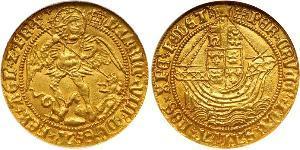 1 Angel Reino de Inglaterra (927-1649,1660-1707) Oro Enrique VIII (1491 - 1547)