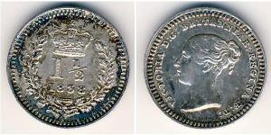 1.5 Penny Royaume-Uni Argent Victoria (1819 - 1901)