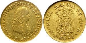 2 Escudo Virreinato de Nueva Granada (1717 - 1819) Oro Carlos III de España (1716 -1788)