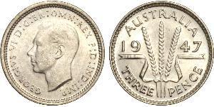 1 Threepence Australia (1939 - ) Silver George VI (1895-1952)