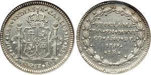 2 Real 新西班牙總督轄區 (1535 - 1821) 銀 卡洛斯四世 (1748-1819)