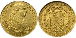 2 Escudo Virreinato de Nueva Granada (1717 - 1819) Oro Carlos IV de España (1748-1819)