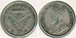 1 Threepence Afrique du Sud Argent George V (1865-1936)