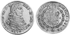 4 Escudo Virreinato de Nueva España (1519 - 1821) Oro Fernando VII de España (1784-1833)