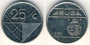 25 Cent Aruba Copper/Nickel