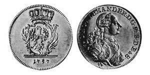 1 Ducat Principality of Ansbach (1398–1792) Gold Charles Alexander, Margrave of Brandenburg-Ansbach (1736 – 1806)