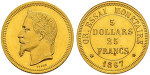 25 Franc / 100 Dollar France Gold Napoleon III (1808-1873)