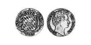 3 Kreuzer Regno di Baviera (1806 - 1918) Argento Ludovico I di Baviera (re)(1786 – 1868)