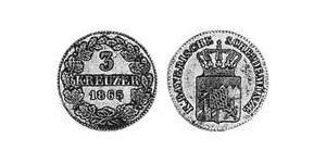 3 Kreuzer Regno di Baviera (1806 - 1918) Argento Ludovico II di Baviera(1845 – 1886)