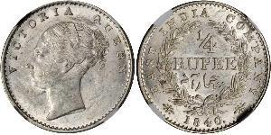 1/4 Rupee Raj Británico (1858-1947) Plata Victoria (1819 - 1901)