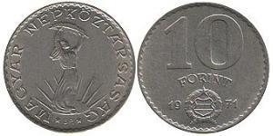 10 Forint Hungría (1989 - ) Níquel