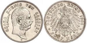 5 Марка Королівство Саксонія (1806 - 1918) Срібло George, King of Saxony