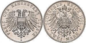 2 Mark Free City of Lübeck Silver