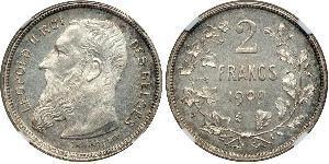 2 Franc Belgium Silver Leopold II of Belgium(1835 - 1909)
