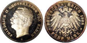 5 Mark 巴登大公國 (1806 - 1918) 銀 弗里德里希二世 (巴登)
