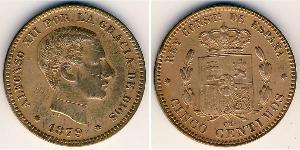 5 Сентімо Королівство Іспанія (1874 - 1931) Бронза